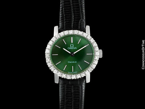 1973 Omega Geneve Vintage Ladies Handwound Watch with Forest Green Dial - Stainless Steel & Diamonds
