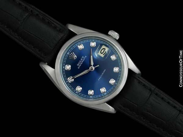 1963 Rolex Oysterdate Mens Vintage Ref. 6694 Date Watch with Blue Dial - Stainless Steel & Diamonds