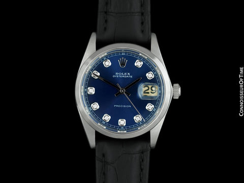 1968 Rolex Oysterdate Mens Vintage Ref. 6694 Date Watch with Blue Dial - Stainless Steel & Diamonds