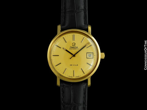 1978 Omega De Ville Vintage Mens Full Size Automatic Watch - 18K Gold Plated & Stainless Steel