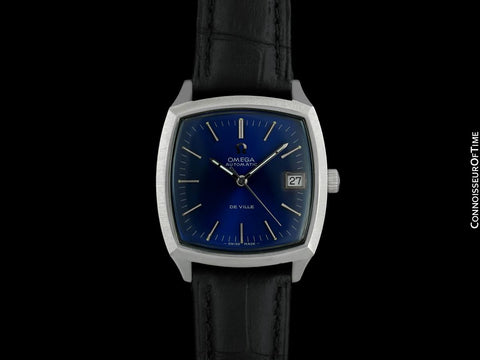c. 1971 Omega De Ville Vintage Mens Automatic Blue Dial Watch - Stainless Steel