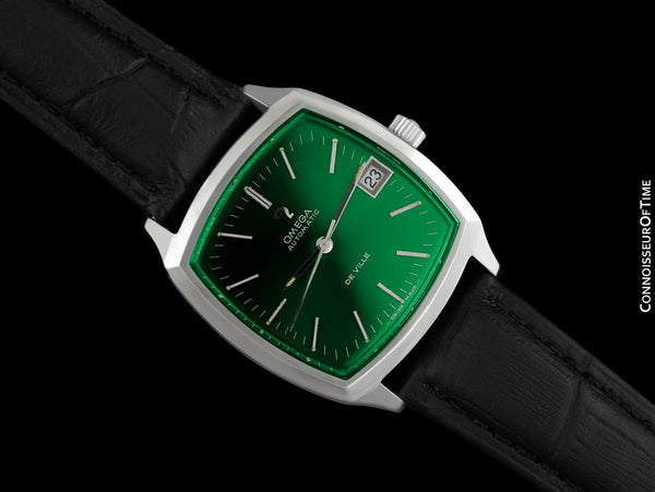 1971 Omega De Ville Vintage Mens Automatic Emerald Dial Watch - Stainless Steel