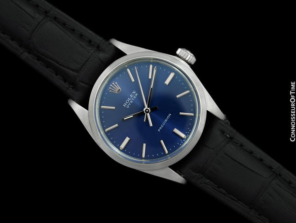 1969 Rolex Oyster Precision Classic Vintage Mens Handwound Watch with Blue Dial - Stainless Steel