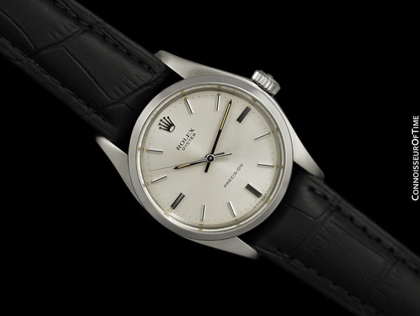 1973 Rolex Oyster Precision Classic Vintage Mens Handwound Watch with Silver Dial - Stainless Steel