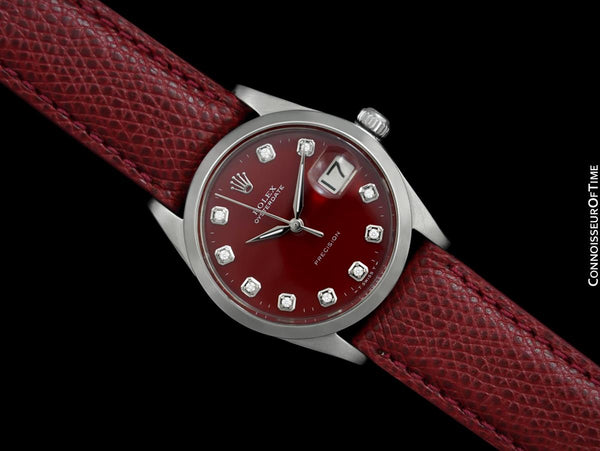 1964 Rolex Oysterdate Mens Vintage Ref. 6694 Date Watch with Red Dial - Stainless Steel & Diamonds
