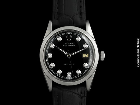 1961 Rolex Oysterdate Mens Vintage Ref. 6694 Date Watch with Black Dial - Stainless Steel & Diamonds