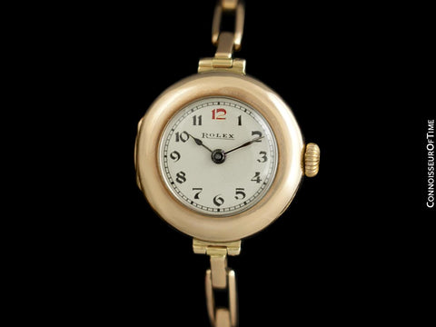 1910's Rolex Ladies Vintage Art Deco Watch with Original Box - 9K Rose Gold
