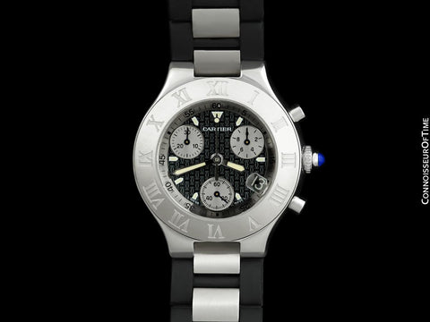 Cartier 21C Mens Chronoscaph Chronograph Stainless Steel Watch, Ref. 2424 - Box, Booklets & New Movement