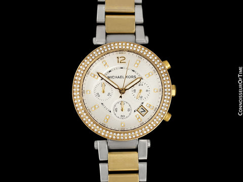 Michael Kors Parker Glitz Ladies Steel & Gold Chronograph Watch - Owned & Worn By Olivia Newton-John