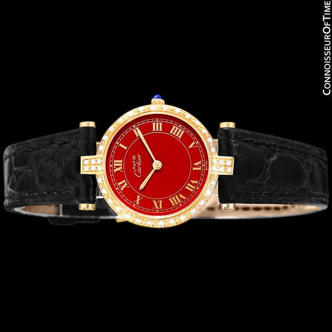 Must De Cartier Vendome Ladies Vermeil Wine Dial Watch - 18K Gold Over Sterling Silver with Diamonds