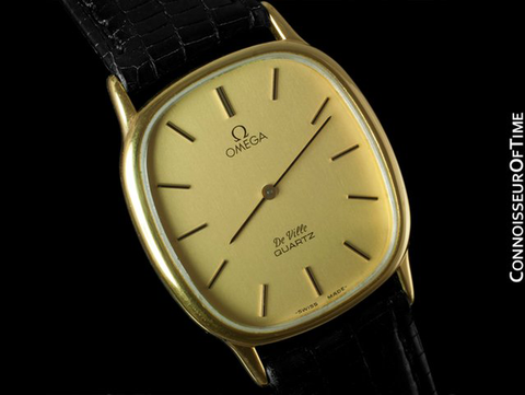Omega De Ville Mens Midsize Thin Dress Watch - 18K Gold Plated and Stainless Steel