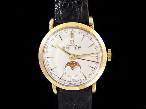1948 Omega Cosmic Vintage Triple Date Watch with Moon Phase - 18K Gold