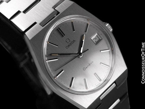1972 Omega Geneve Vintage Mens Watch, Quick-Setting Date - Stainless Steel