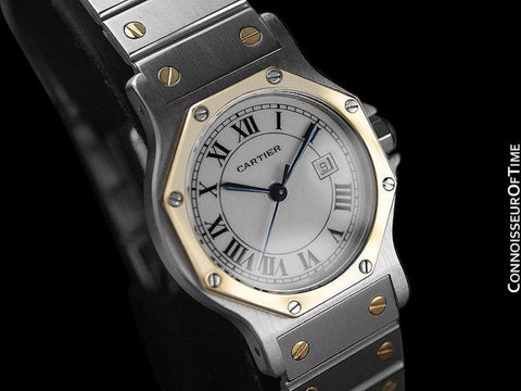 Cartier Santos Octagon Mens Midsize Watch, Automatic - Stainless Steel & 18K Gold