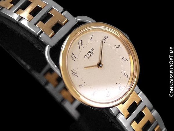 Hermes Arceau Midsize Unisex Bracelet Watch - 18K Gold Plated & Stainless Steel