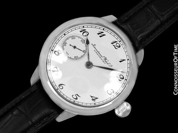1930's IWC Vintage Mens Antique Pocket Watch Custom Extra Large 48mm Wristwatch - Stainless Steel