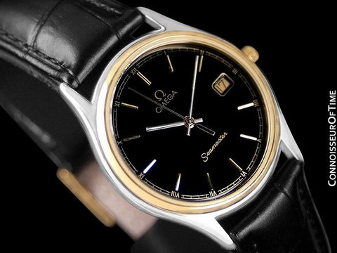 1980's Omega Seamaster Brest Vintage Mens Quartz Watch - Stainless Steel & 18K Gold Plated