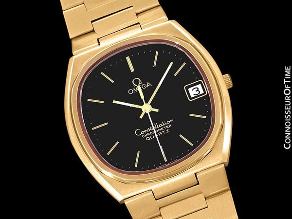 1970's Omega Constellation Chronometer Cool Vintage Mens Quartz Bracelet Watch - 18K Gold Plated & Stainless Steel