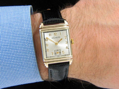 1944 Jaeger LeCoultre Vintage Mens Rectangular Watch - 14K Gold