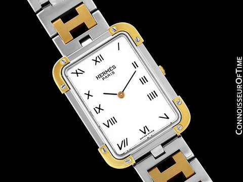 Hermes Mens Midsize Unisex Croisière (Cruise) Watch with Bracelet - 18K Gold Plated & Stainless Steel