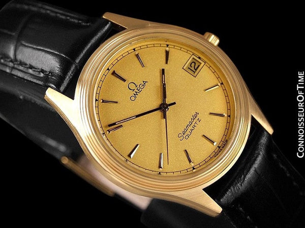 1982 Omega Seamaster Cherbourg Classic Vintage Mens Accuset Watch - 18K Gold Plated & Stainless Steel