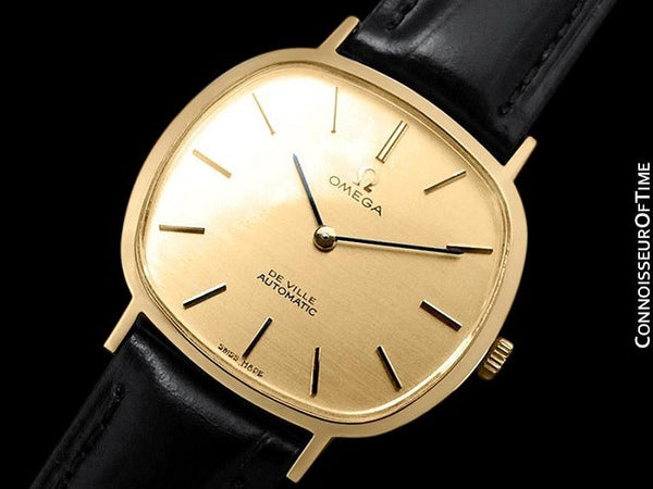 1974 Omega De Ville Vintage Mens Automatic Full Size Dress Watch - 18K Gold Plated Stainless Steel