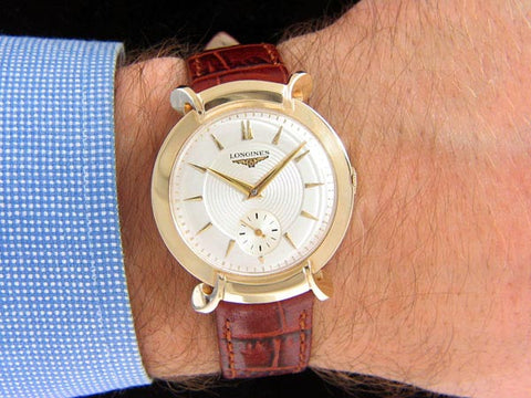 1954 Longines Vintage Mens Handwound Dress Watch, Beautiful Design - 14K Gold