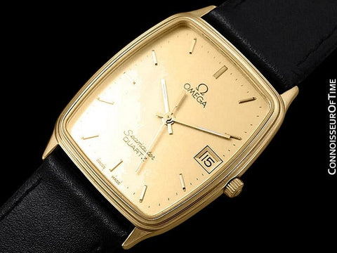 1980's Omega Seamaster Vintage Mens Midsize Quartz Watch - 18K Gold Plated & Stainless Steel