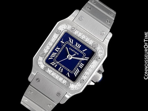 Cartier Santos Ladies Automatic Watch with Date - Stainless Steel & Diamonds