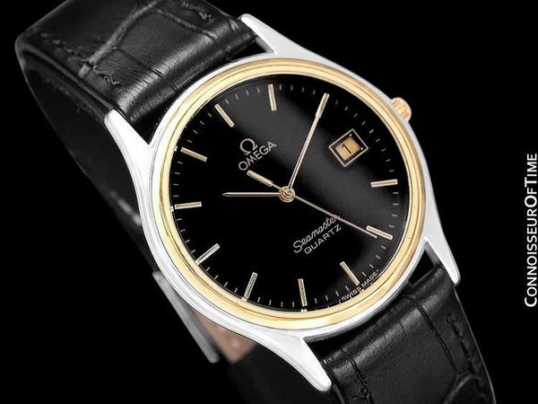 c. 1982 Omega Seamaster Brest Vintage Mens Quartz Watch - Stainless Steel & 18K Gold Plated