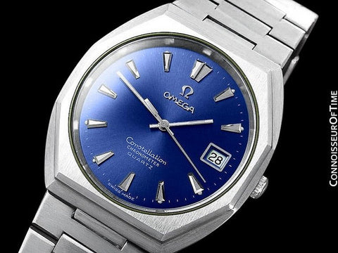 1980 Omega Constellation Chronometer Cool Vintage Accuset Mens Quartz Watch - Stainless Steel