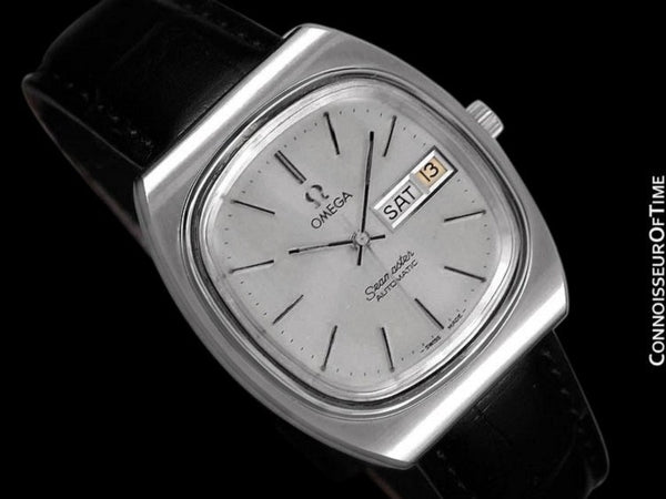 c. 1983 Omega Seamaster Vintage Mens TV Watch, Automatic, Day Date - Stainless Steel