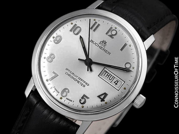 1960's Bucherer Vintage Mens Officially Certified Chronometer Watch - Stainless Steel