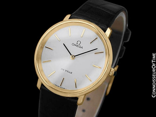 1980 Omega De Ville Vintage Mens Dress Watch - 18K Gold Plated & Stainless Steel