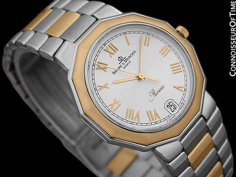 Baume & Mercier Mens Riviera Two-Tone Silver DIal Watch - Stainless Steel and Solid 18K Gold