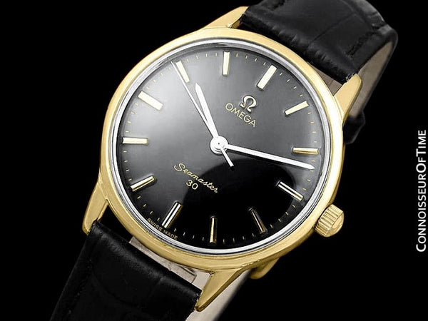 1963 Omega Seamaster 30 Vintage Mens Handwound Watch, Larger 35mm Model - 18K Gold Plated & Stainless Steel
