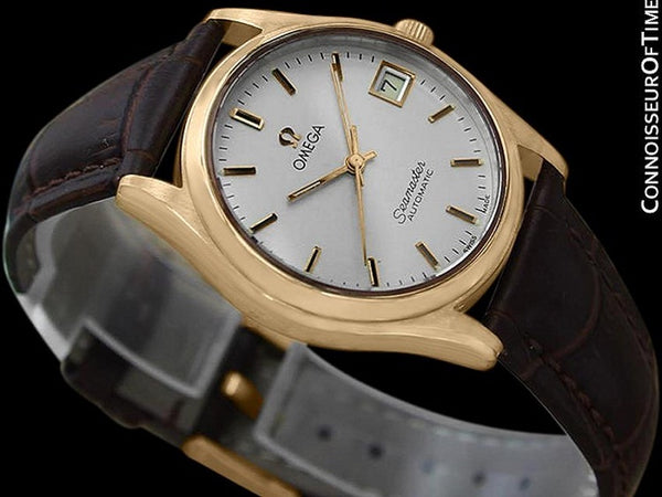 1970's Omega Seamaster Vintage Mens Watch with Quick-Setting Date - 18K Gold Plated & Stainless Steel