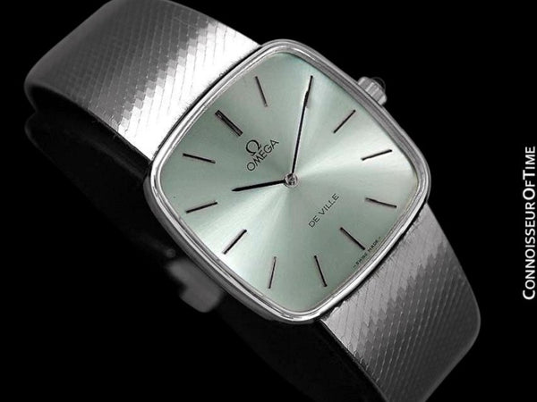 1978 Omega De Ville Vintage Mens Dress Watch with Light Tiffany Blue / Seafoam DIal - Stainless Steel