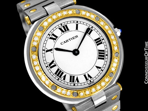 Cartier Santos Vendome Mens Midsize Watch - Stainless Steel, 18K Gold & Diamonds