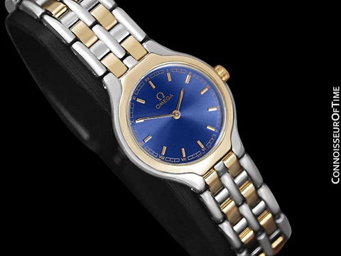 Omega Symbol Ladies Two-Tone Dress Watch - Stainless Steel & Solid 18K Gold