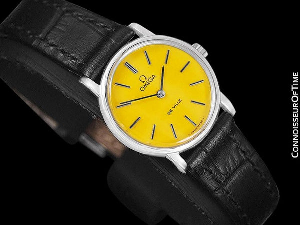 c. 1980 Omega De Ville Vintage Ladies Watch with Goldenrod Yellow Dial - Stainless Steel