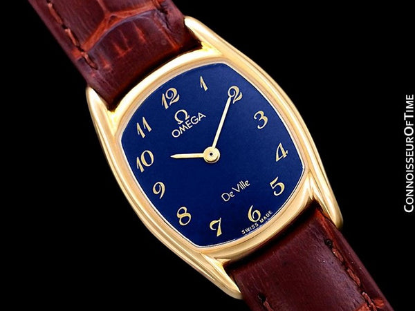 1980's Omega De Ville Vintage Ladies Dress Quartz Watch - 18K Gold Plated & Stainless Steel