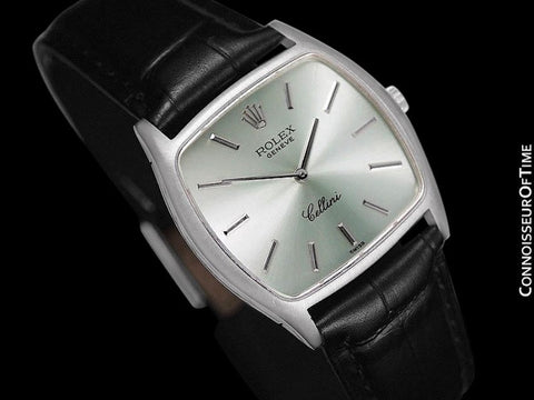 1975 Rolex Cellini Vintage Mens Midsize Handwound Watch with Tiffany Blue / Seafoam Dial, Ref. 3805 - 18K White Gold