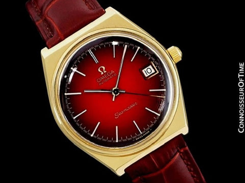 1975 Omega Vintage Seamaster Mens Red Vignette Dial Watch, Automatic, Date - 18K Gold Plated & Stainless Steel
