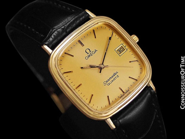 1980's Omega Seamaster Vintage Mens Quartz Watch with Date - 18K Gold Plated & Stainless Steel