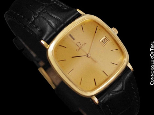 1987 Omega De Ville Vintage Mens Midsize Dress Watch with Quick-Setting Date - 18K Gold Plated and Stainless Steel
