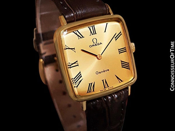 1974 Omega Geneve Vintage Midsize Handwound Ultra Slim Watch - 18K Gold Plated