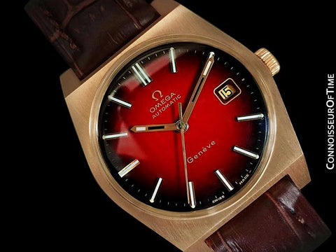 1973 Omega Geneve Vintage Mens Dress Watch with Red Vignette Dial & Date - 18K Gold Plated & Stainless Steel