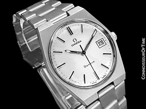 1972 Omega Geneve Vintage Mens Handwound Watch, Quick-Setting Date - Stainless Steel