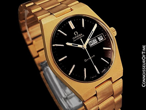 1973 Omega Geneve Classic Vintage Mens Watch, Automatic, Quick-Setting Day Date - 18K Gold Plated & Stainless Steel